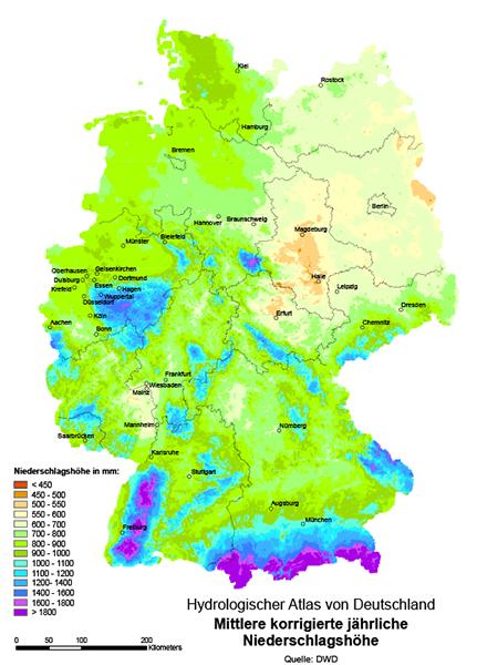 Böck Traunsteiner Silo Hydrologischer Atlas von Deutschland mittlere korrigierte jährliche Niederschlagshöhe